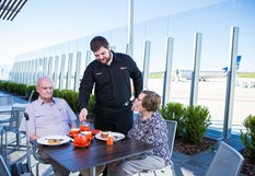 Enjoy the view from the glass enclosed viewing deck | Altitude Bar & Café at Toowoomba Wellcamp Airport