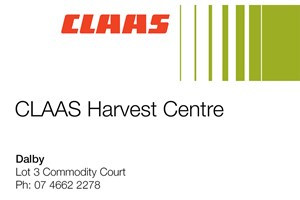 The CLAAS Harvest Dalby logo shows their support for the growth of air services for our community, from Toowoomba to the World | www.wellcamp.com.au