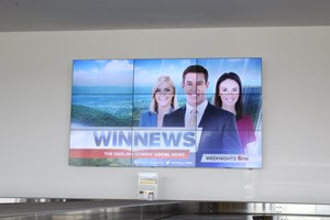 MEGA Screen Advertising above the baggage carousel in the arrivals hall is for rent at Toowoomba Wellcamp Airport | www.wellcamp.com.au