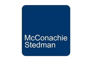 The McConachie Stedman logo shows their support for the growth of air services for our community, from Toowoomba to the World | www.wellcamp.com.au